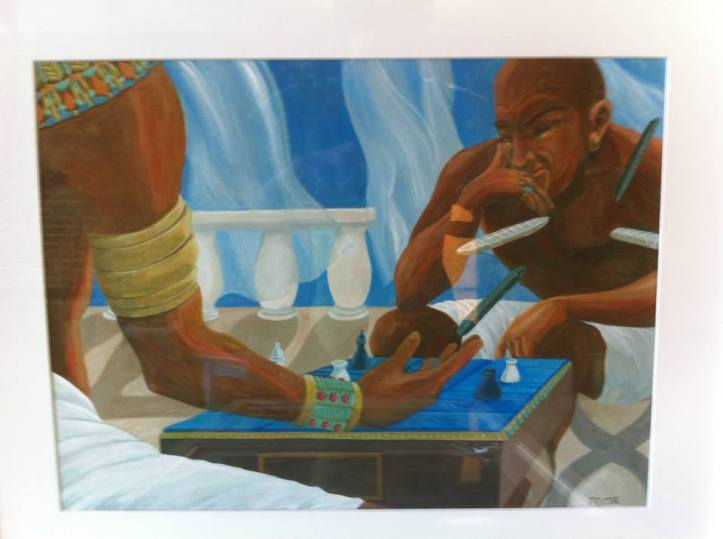 Egyptian men playing Senet by Reyna Collura.